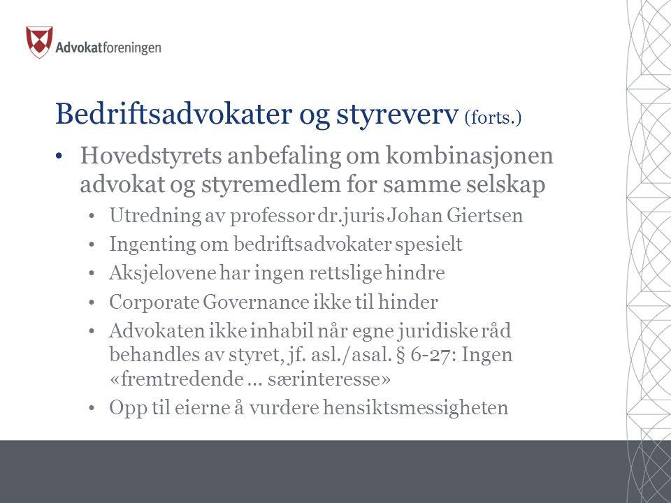 Bedriftsadvokater og styreverv (forts.)
