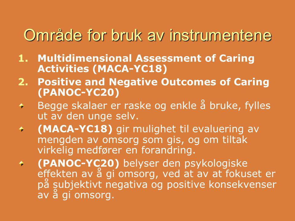 Område for bruk av instrumentene