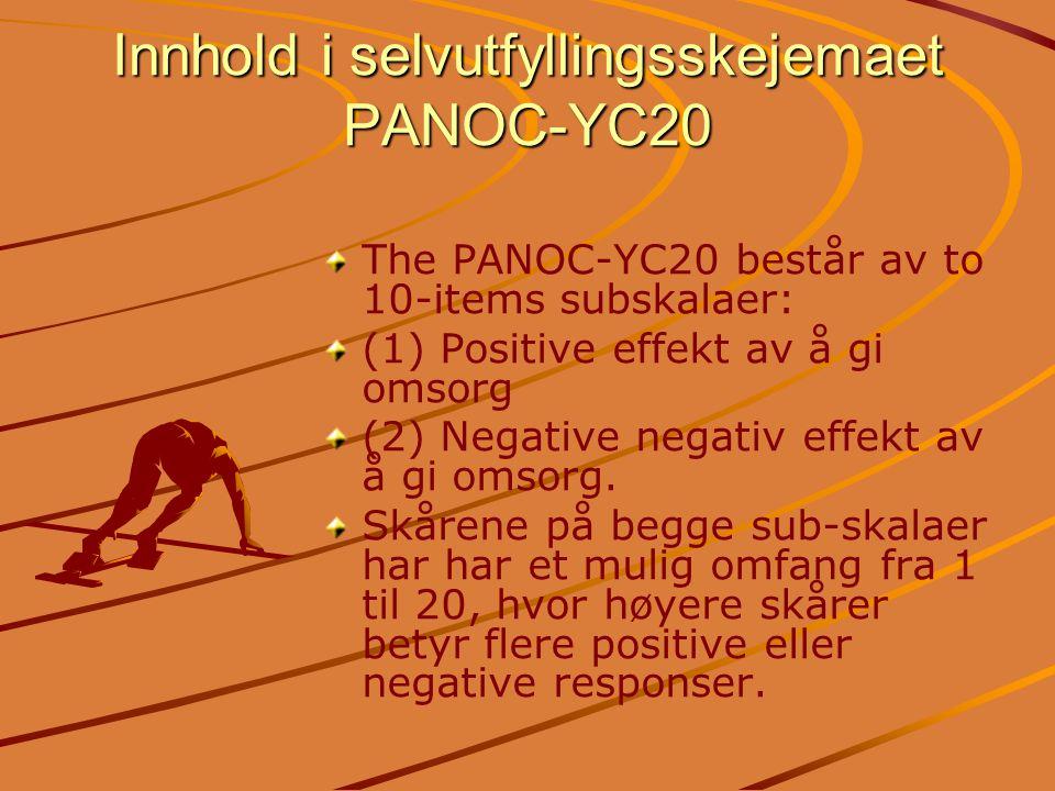 Innhold i selvutfyllingsskejemaet PANOC-YC20