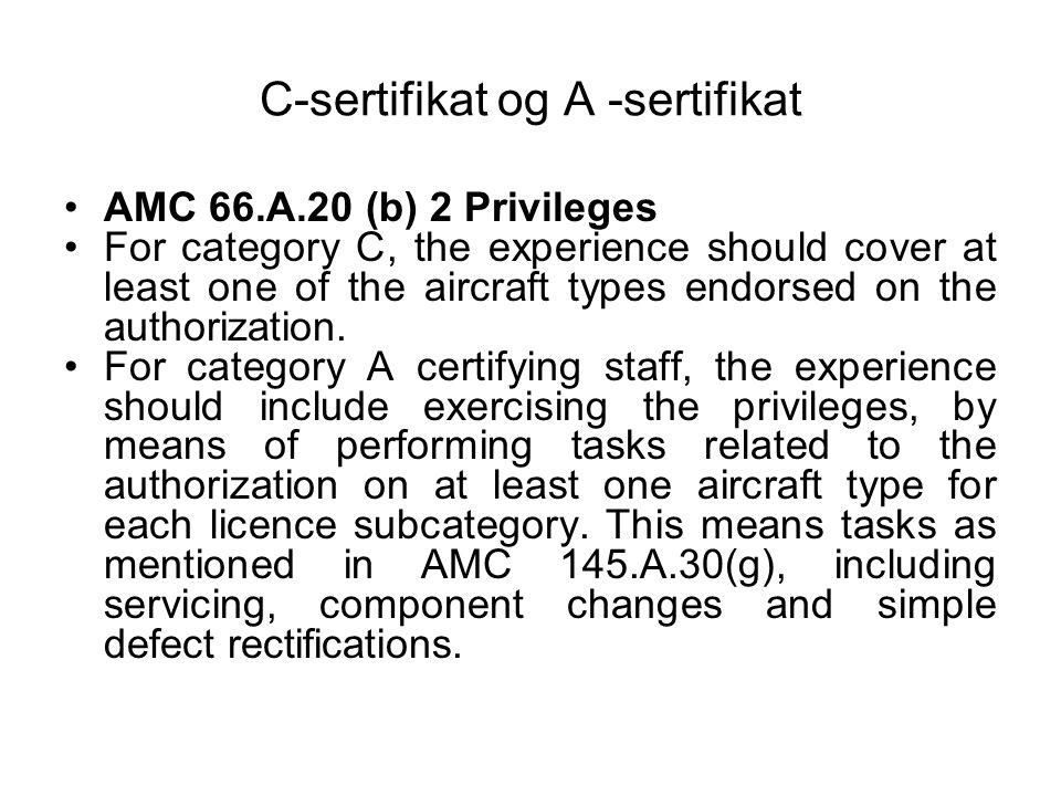 C-sertifikat og A -sertifikat