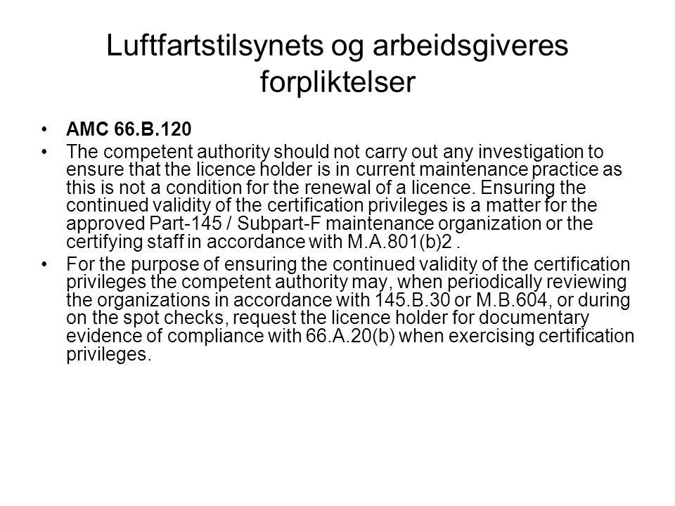 Luftfartstilsynets og arbeidsgiveres forpliktelser