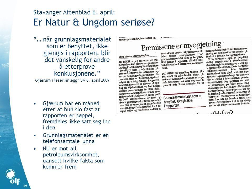 Stavanger Aftenblad 6. april: Er Natur & Ungdom seriøse