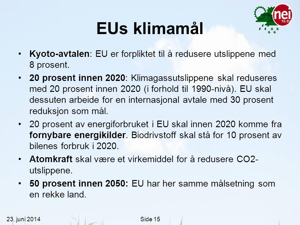 EUs klimamål Kyoto-avtalen: EU er forpliktet til å redusere utslippene med 8 prosent.