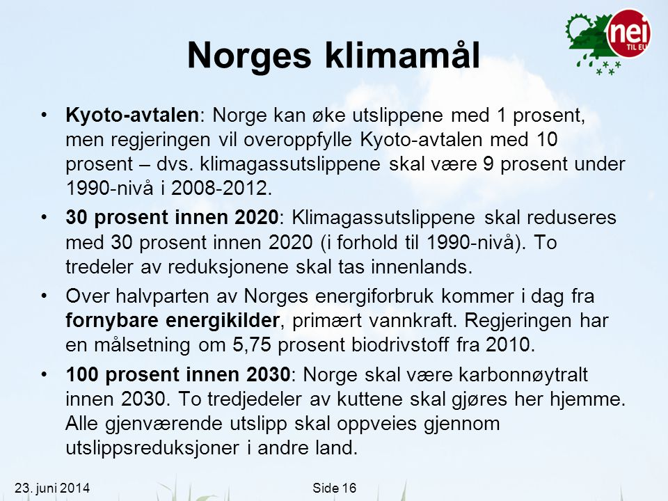 Norges klimamål