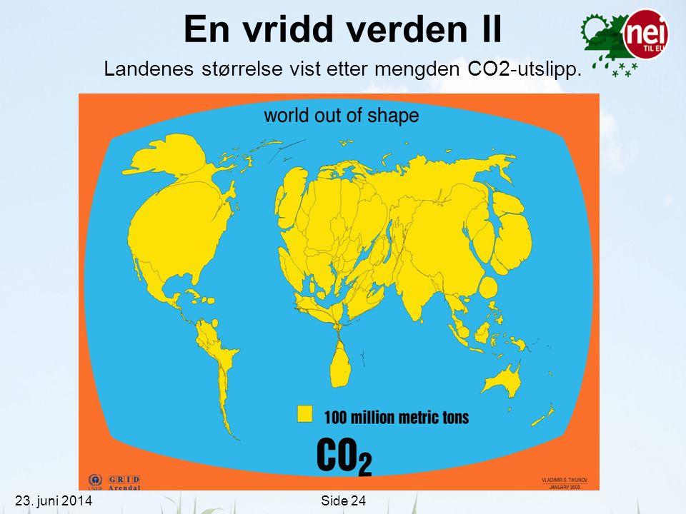 Landenes størrelse vist etter mengden CO2-utslipp.