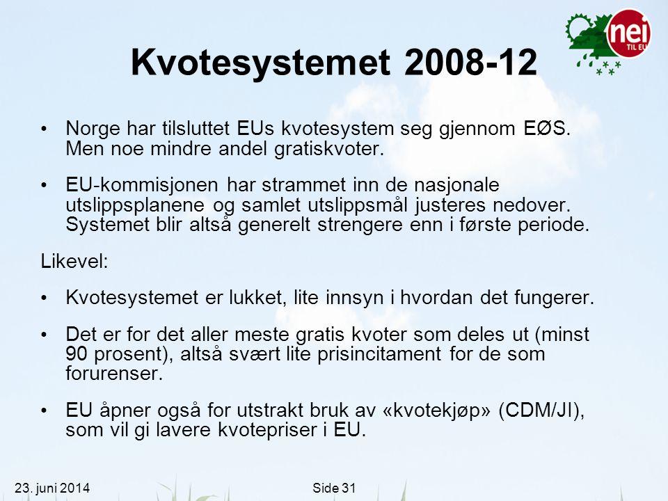 Kvotesystemet 2008-12 Norge har tilsluttet EUs kvotesystem seg gjennom EØS. Men noe mindre andel gratiskvoter.