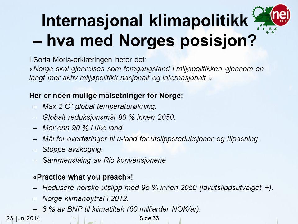 Internasjonal klimapolitikk – hva med Norges posisjon
