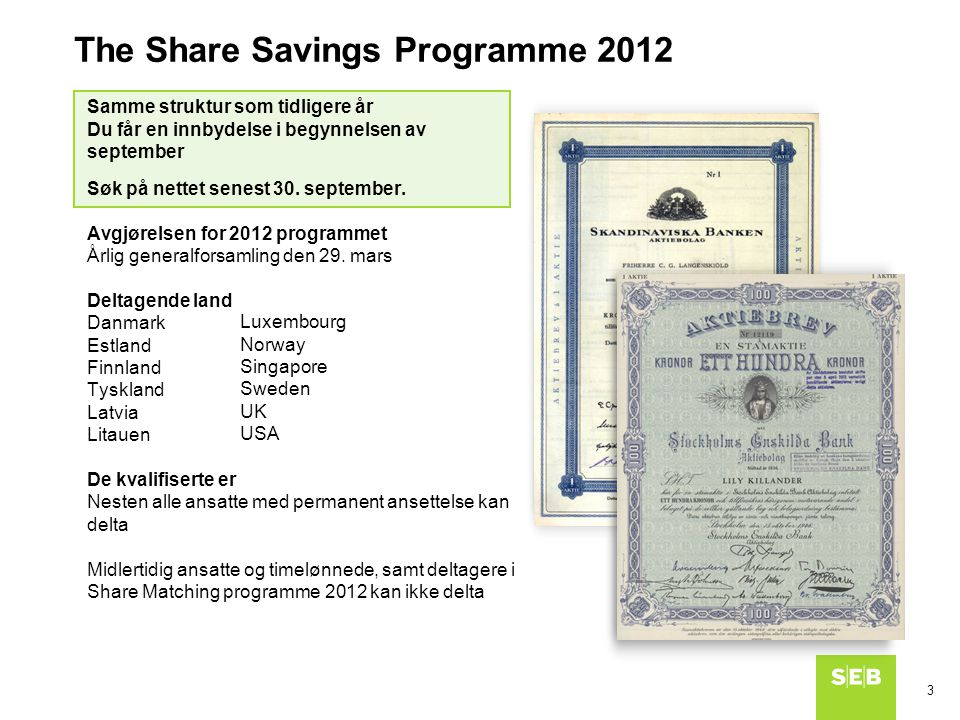 The Share Savings Programme 2012