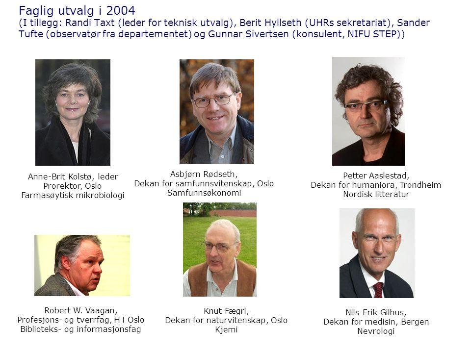 Faglig utvalg i 2004 (I tillegg: Randi Taxt (leder for teknisk utvalg), Berit Hyllseth (UHRs sekretariat), Sander Tufte (observatør fra departementet) og Gunnar Sivertsen (konsulent, NIFU STEP))