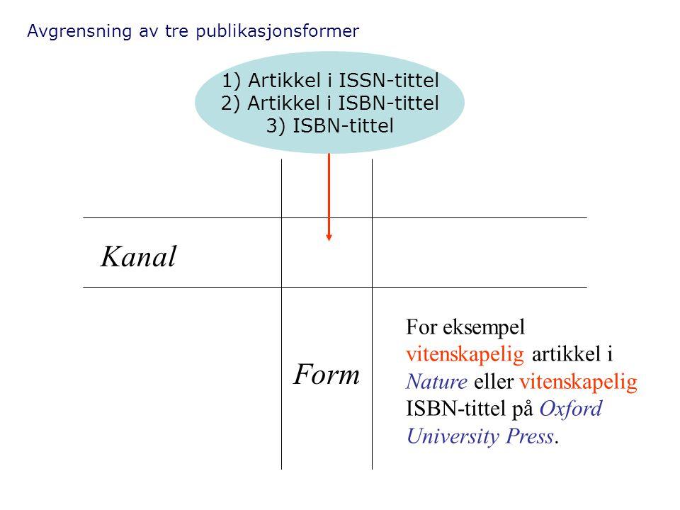 Avgrensning av tre publikasjonsformer