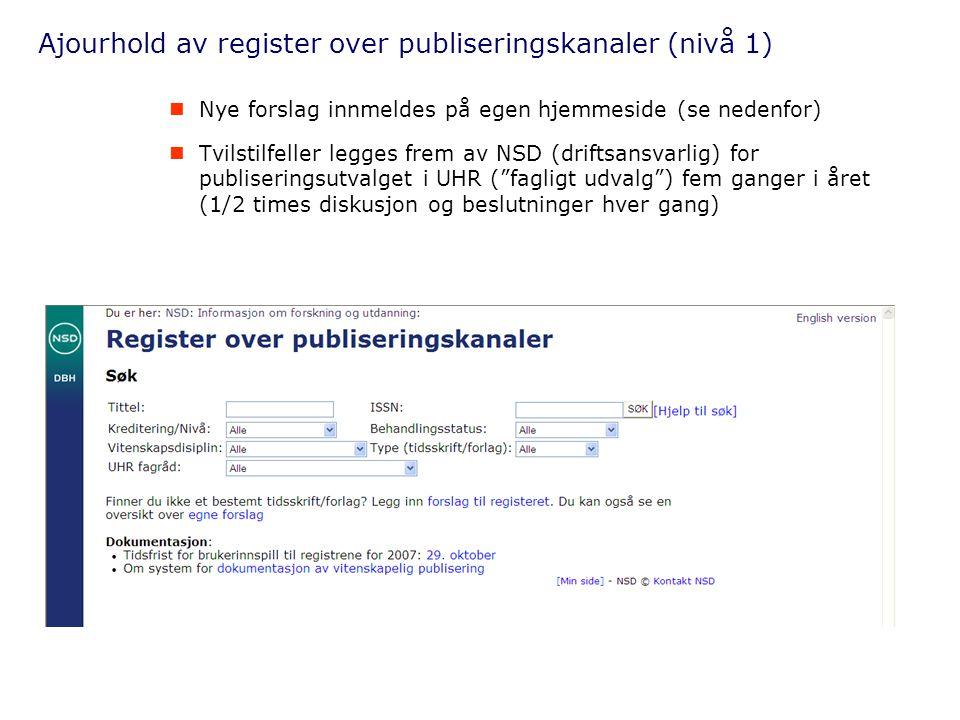 Ajourhold av register over publiseringskanaler (nivå 1)