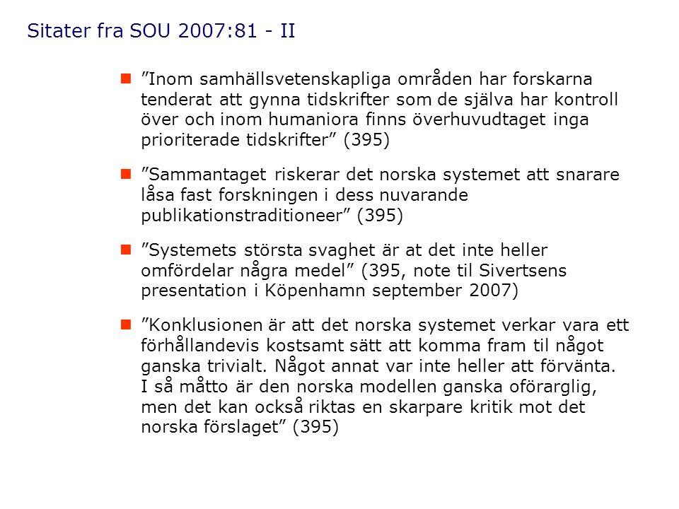 Sitater fra SOU 2007:81 - II