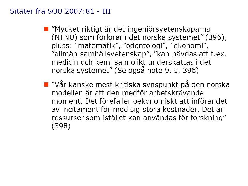 Sitater fra SOU 2007:81 - III