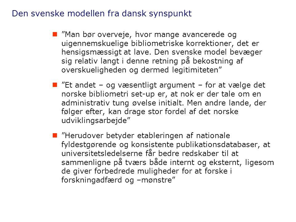 Den svenske modellen fra dansk synspunkt