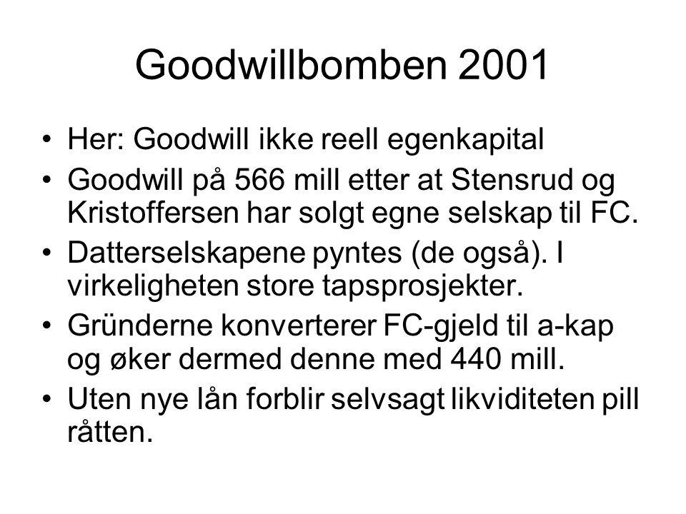 Goodwillbomben 2001 Her: Goodwill ikke reell egenkapital
