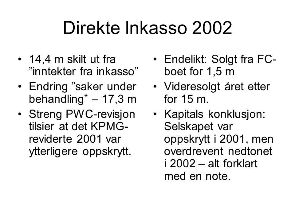 Direkte Inkasso 2002 14,4 m skilt ut fra inntekter fra inkasso