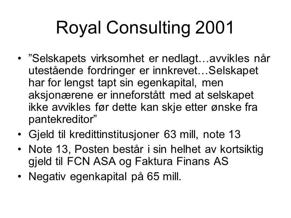 Royal Consulting 2001