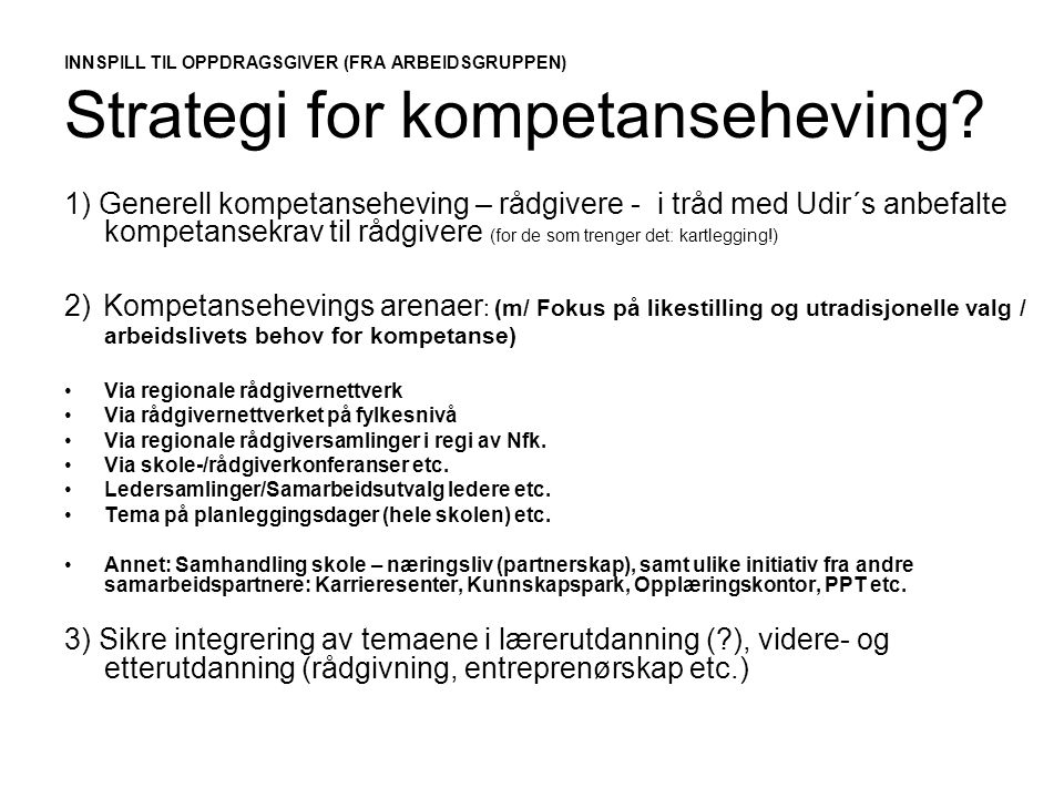 INNSPILL TIL OPPDRAGSGIVER (FRA ARBEIDSGRUPPEN) Strategi for kompetanseheving