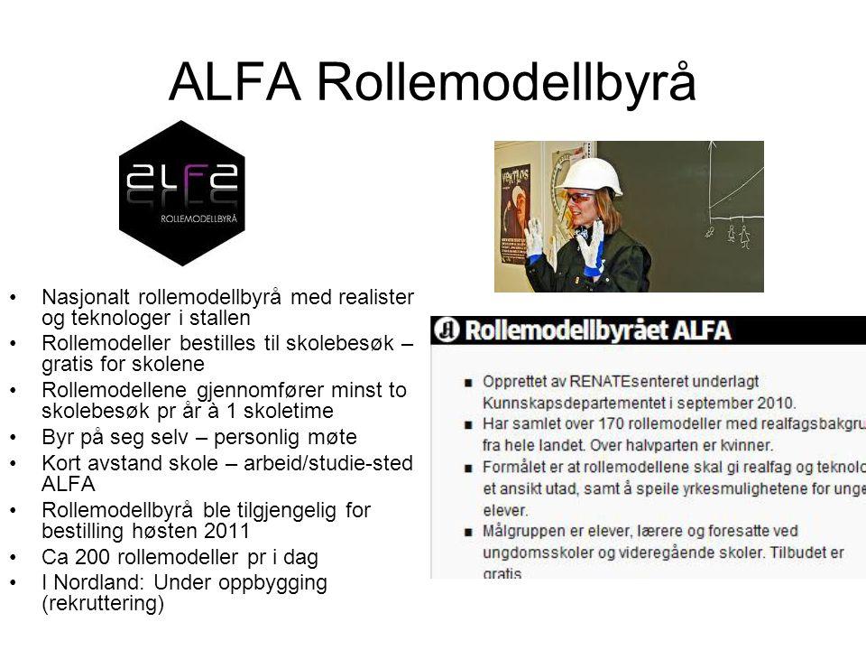 ALFA Rollemodellbyrå Nasjonalt rollemodellbyrå med realister og teknologer i stallen. Rollemodeller bestilles til skolebesøk – gratis for skolene.