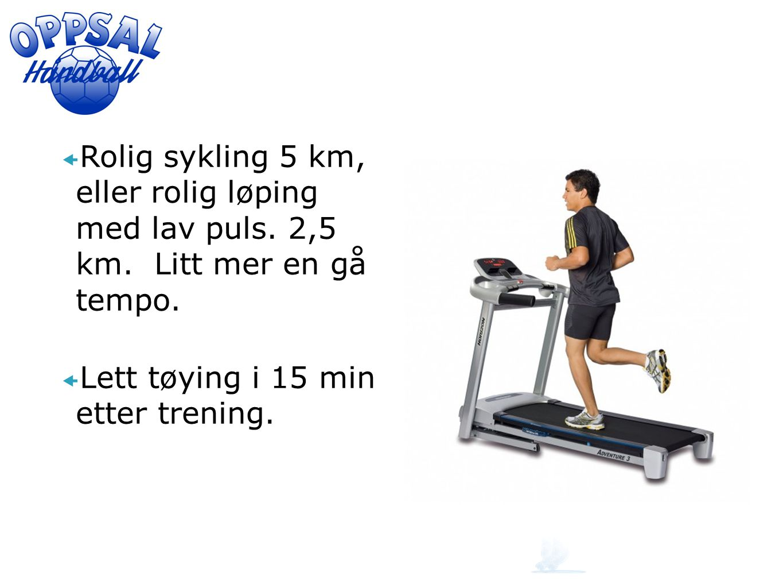 Rolig sykling 5 km, eller rolig løping med lav puls. 2,5 km