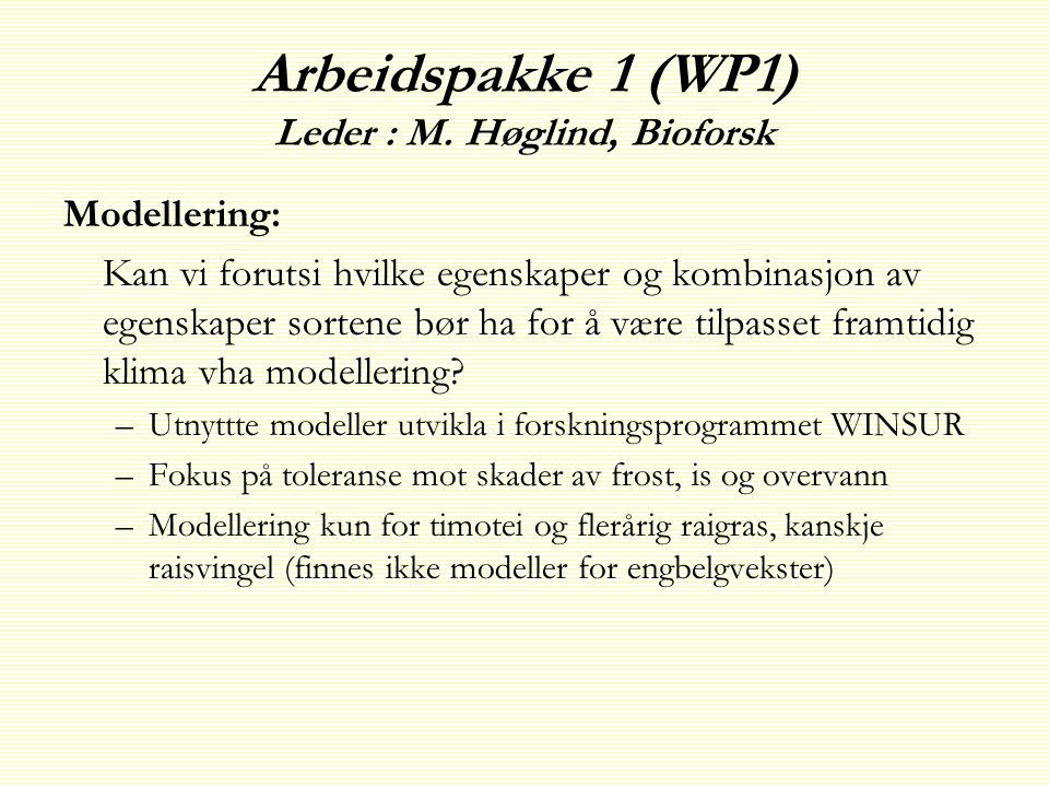 Arbeidspakke 1 (WP1) Leder : M. Høglind, Bioforsk