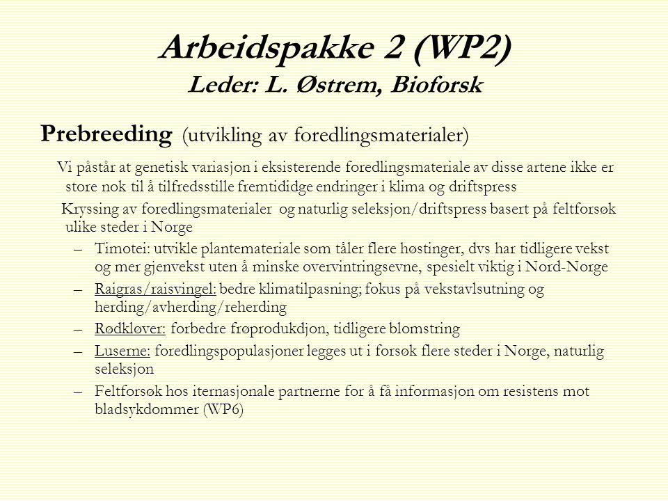 Arbeidspakke 2 (WP2) Leder: L. Østrem, Bioforsk