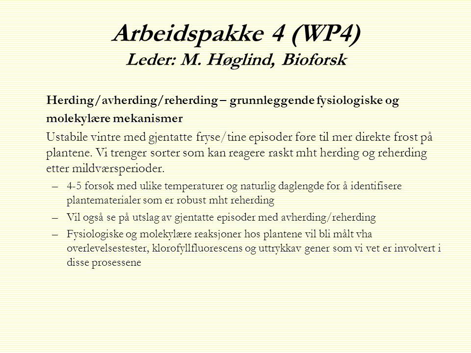 Arbeidspakke 4 (WP4) Leder: M. Høglind, Bioforsk