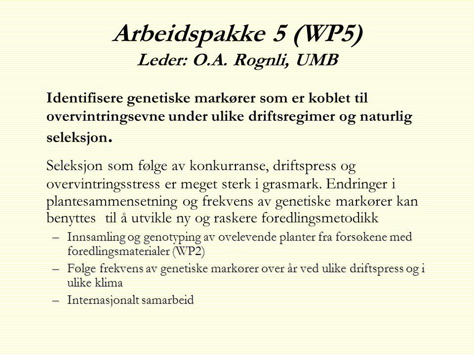 Arbeidspakke 5 (WP5) Leder: O.A. Rognli, UMB