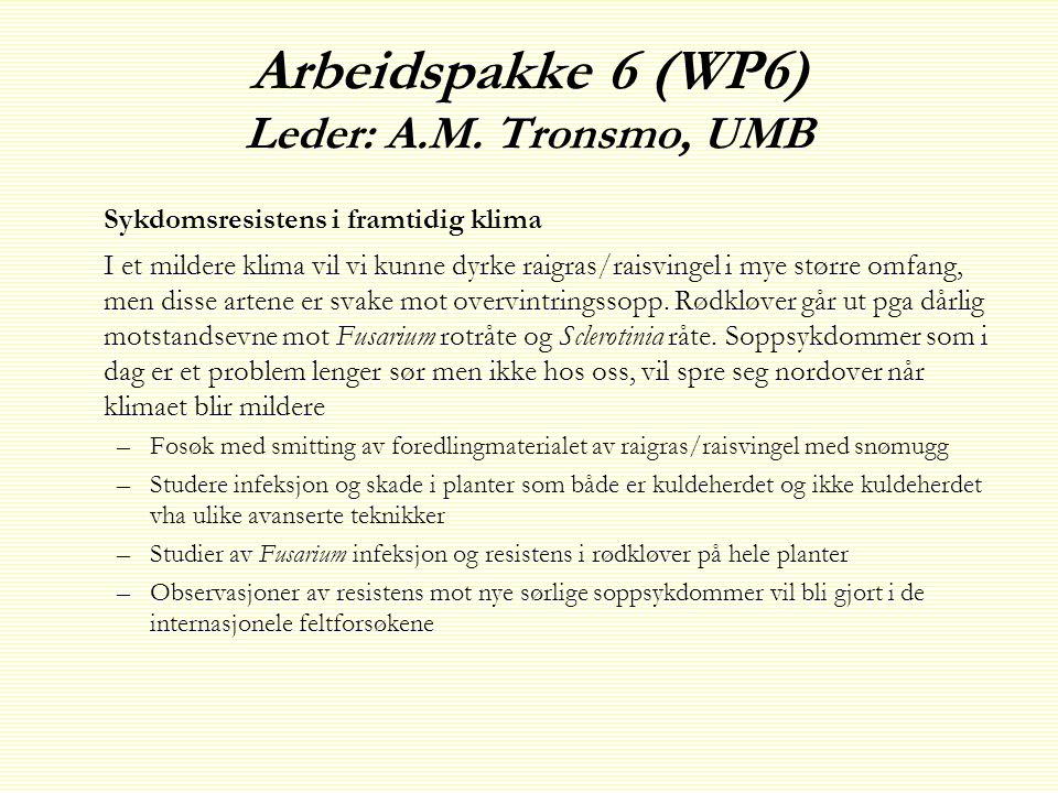 Arbeidspakke 6 (WP6) Leder: A.M. Tronsmo, UMB