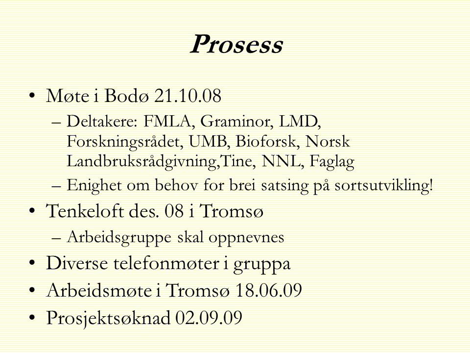 Prosess Møte i Bodø 21.10.08 Tenkeloft des. 08 i Tromsø