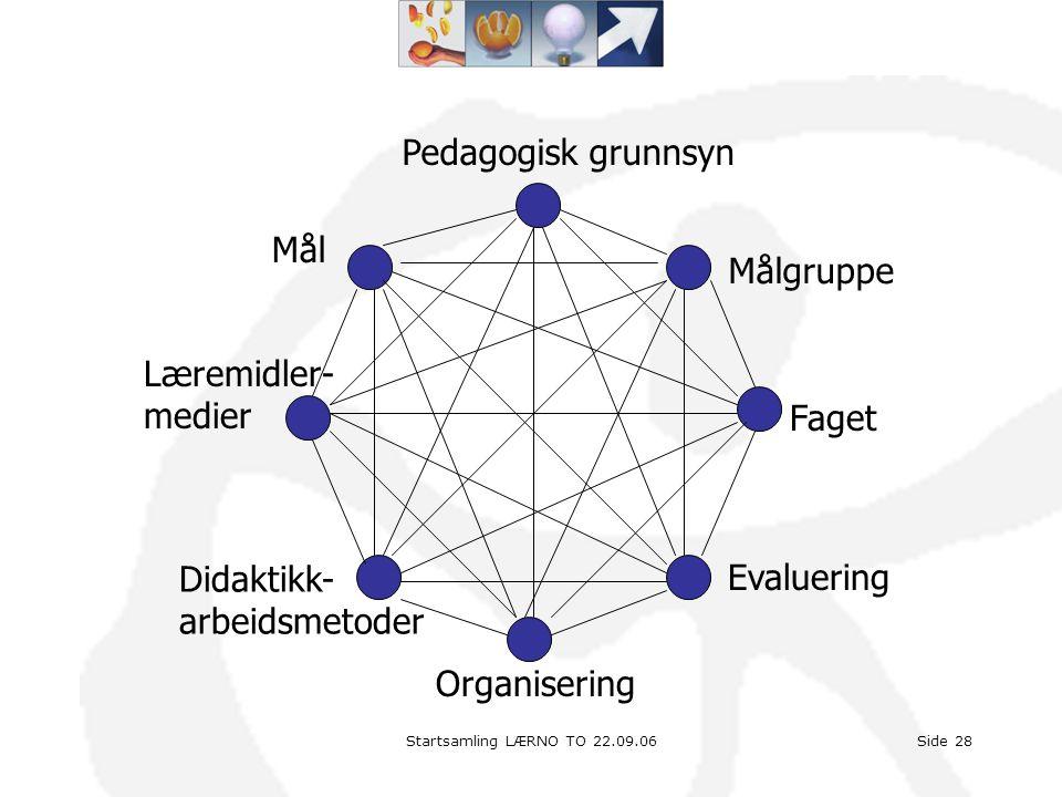 Pedagogisk grunnsyn Mål Målgruppe Læremidler- medier Faget Didaktikk-