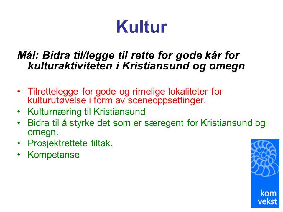 Kultur Mål: Bidra til/legge til rette for gode kår for kulturaktiviteten i Kristiansund og omegn.