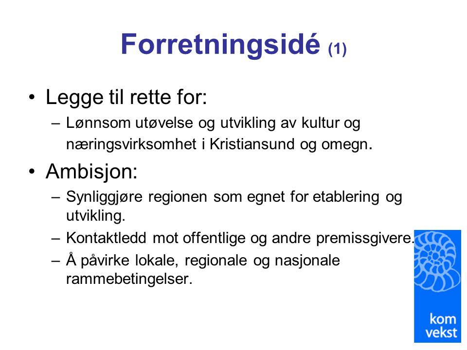Forretningsidé (1) Legge til rette for: Ambisjon:
