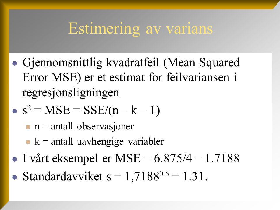 Estimering av varians Gjennomsnittlig kvadratfeil (Mean Squared Error MSE) er et estimat for feilvariansen i regresjonsligningen.