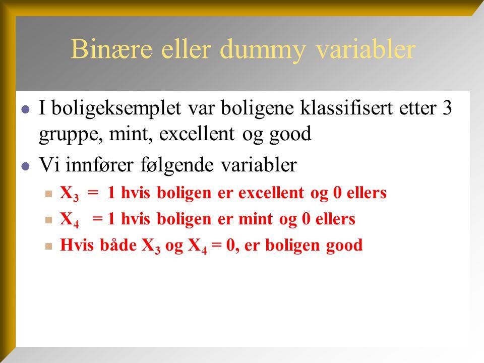 Binære eller dummy variabler