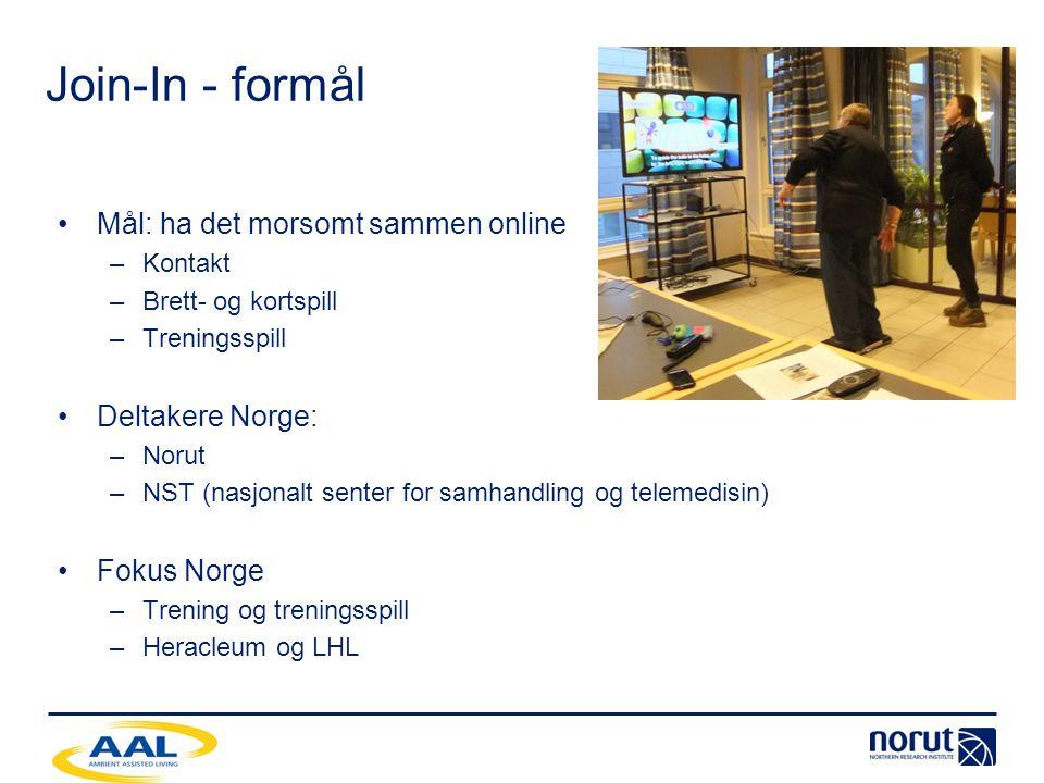 Join-In - formål Mål: ha det morsomt sammen online Deltakere Norge: