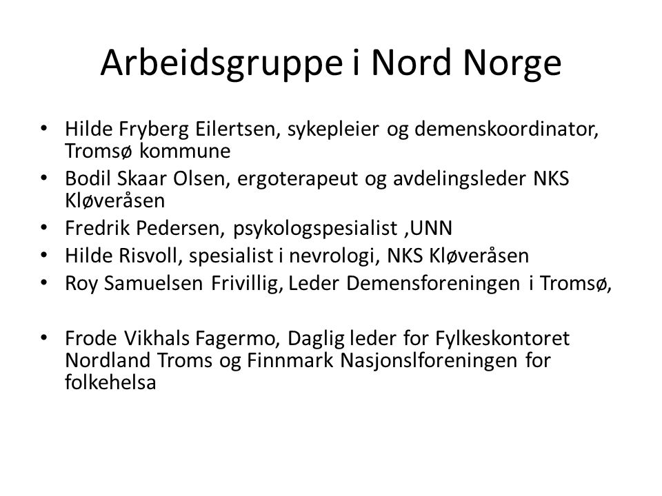 Arbeidsgruppe i Nord Norge