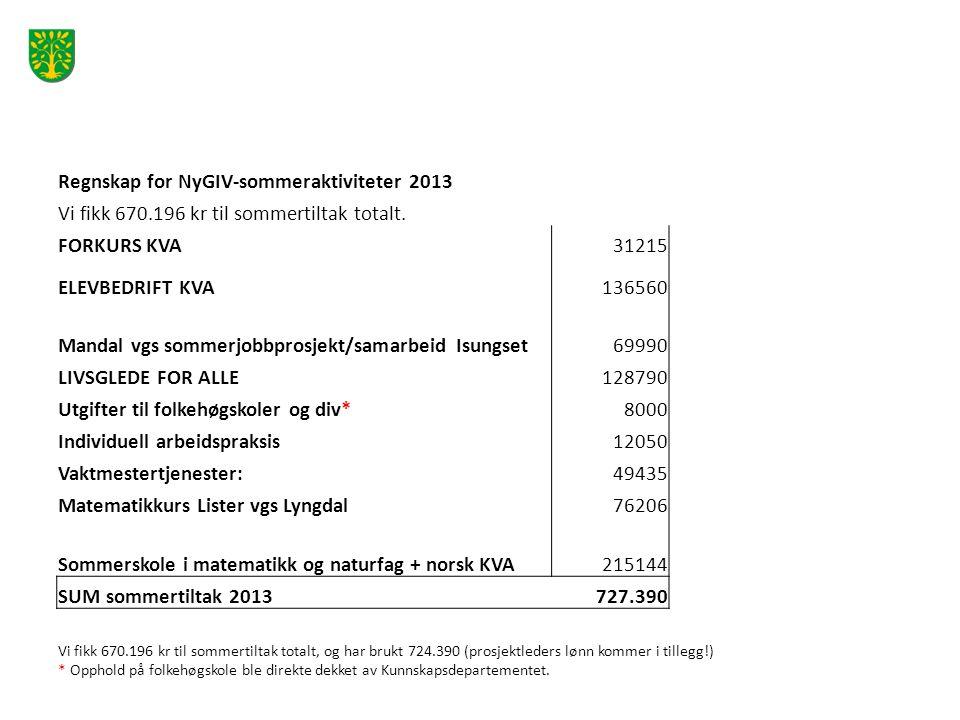 Regnskap for NyGIV-sommeraktiviteter 2013