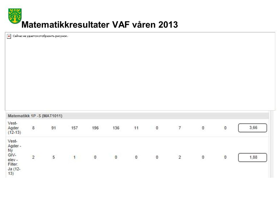 Matematikkresultater VAF våren 2013