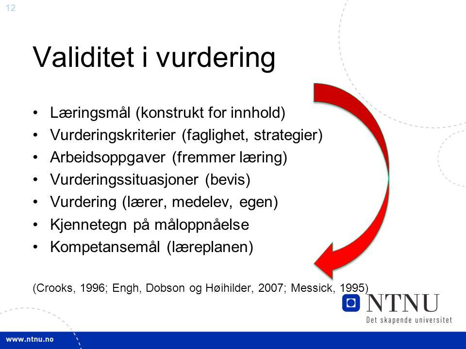 Validitet i vurdering Læringsmål (konstrukt for innhold)