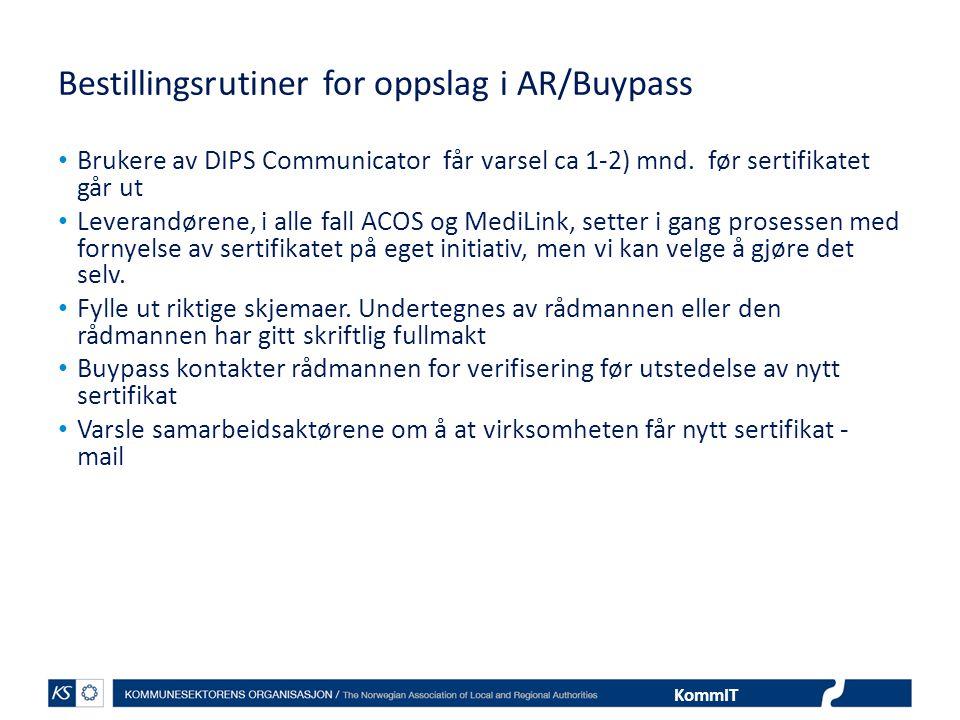 Bestillingsrutiner for oppslag i AR/Buypass