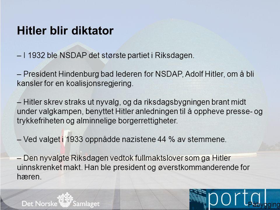 Hitler blir diktator – I 1932 ble NSDAP det største partiet i Riksdagen.