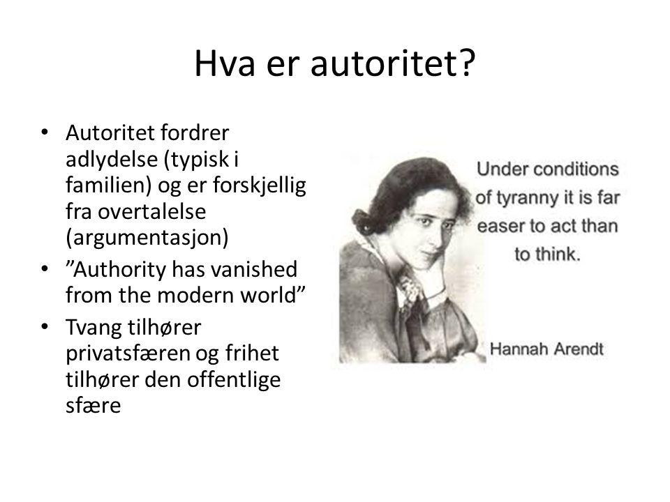 Hva er autoritet Autoritet fordrer adlydelse (typisk i familien) og er forskjellig fra overtalelse (argumentasjon)