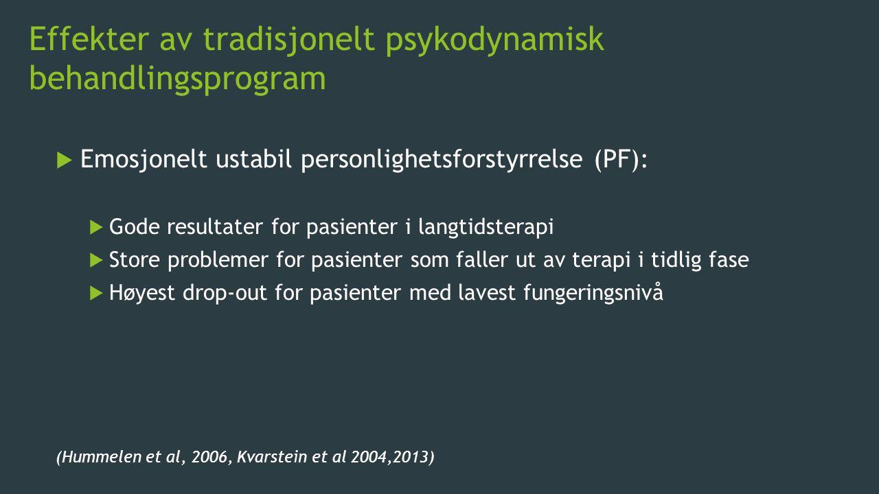 Effekter av tradisjonelt psykodynamisk behandlingsprogram