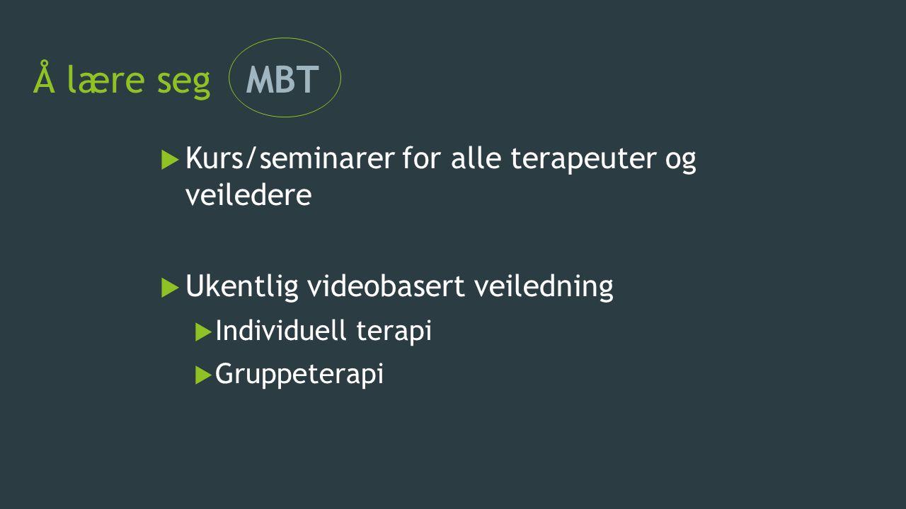 Å lære seg MBT Kurs/seminarer for alle terapeuter og veiledere