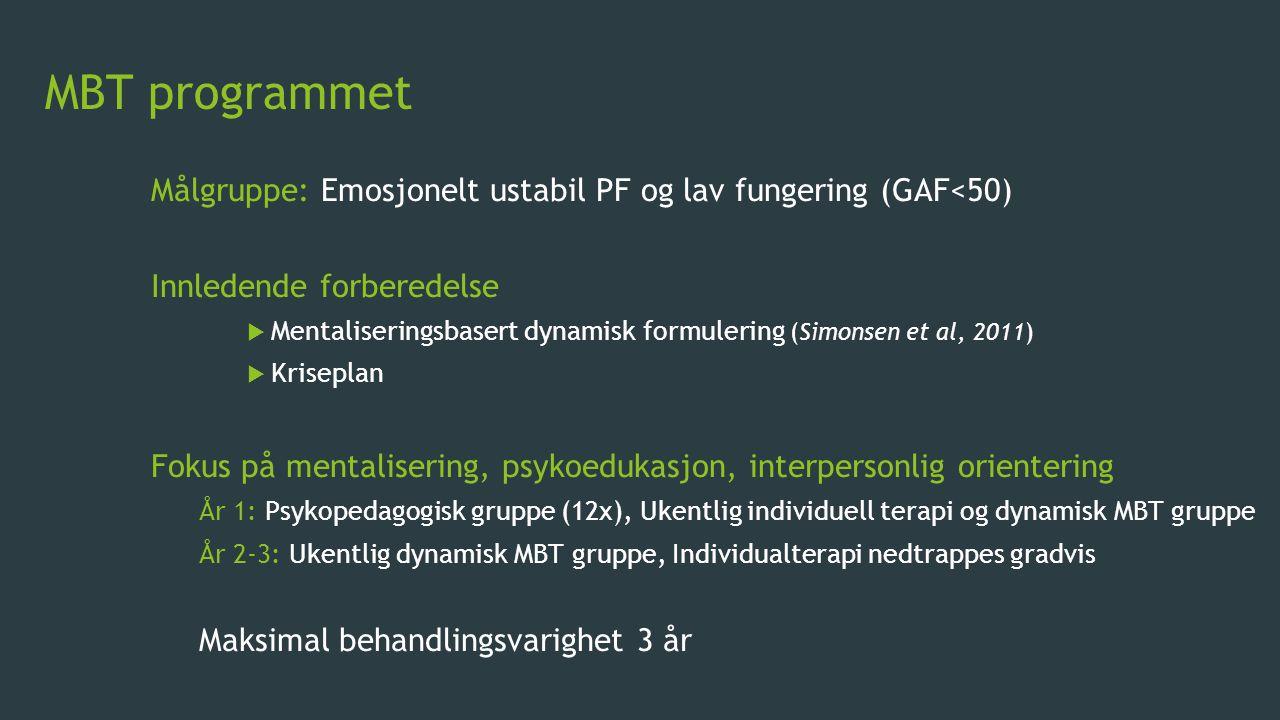 MBT programmet Målgruppe: Emosjonelt ustabil PF og lav fungering (GAF<50) Innledende forberedelse.