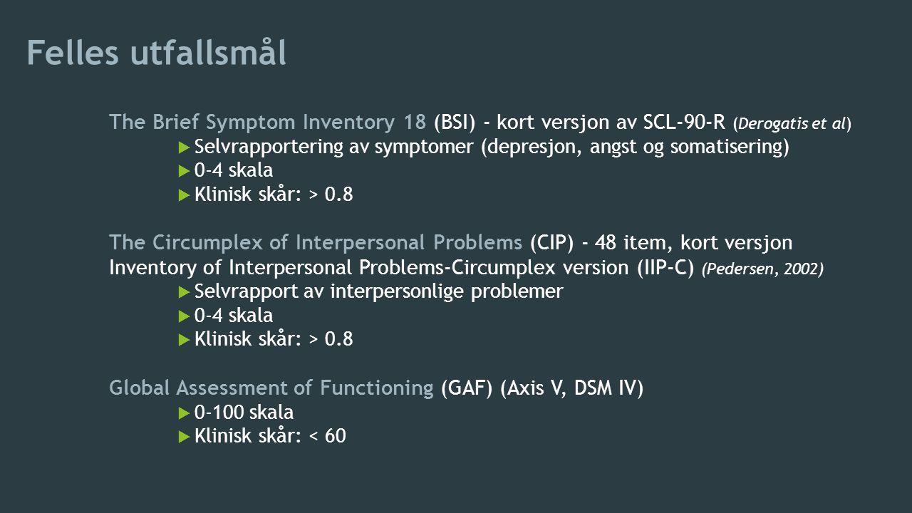 Felles utfallsmål The Brief Symptom Inventory 18 (BSI) - kort versjon av SCL-90-R (Derogatis et al)