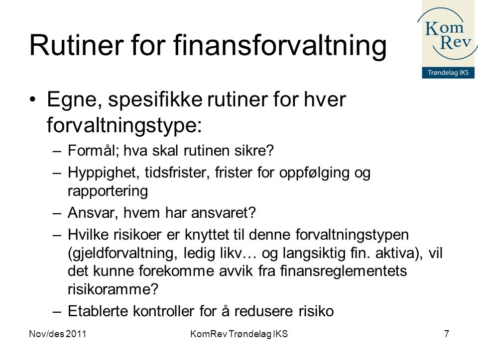 Rutiner for finansforvaltning