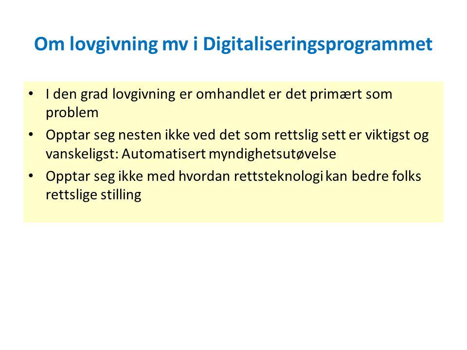 Om lovgivning mv i Digitaliseringsprogrammet