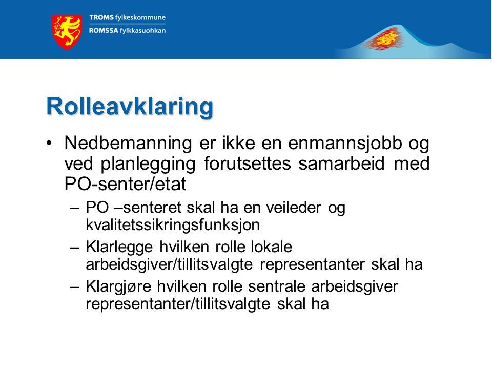Rolleavklaring Nedbemanning er ikke en enmannsjobb og ved planlegging forutsettes samarbeid med PO-senter/etat.